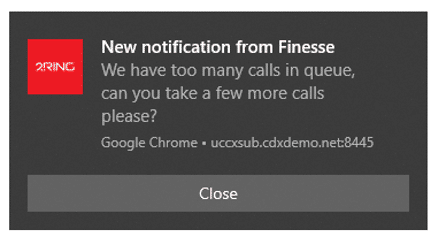 2 Ring - new notification from finesse