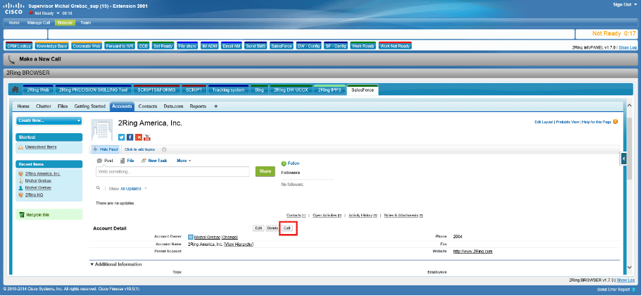 2RING Cisco Finesse 10.5 with Salesforce UI Image