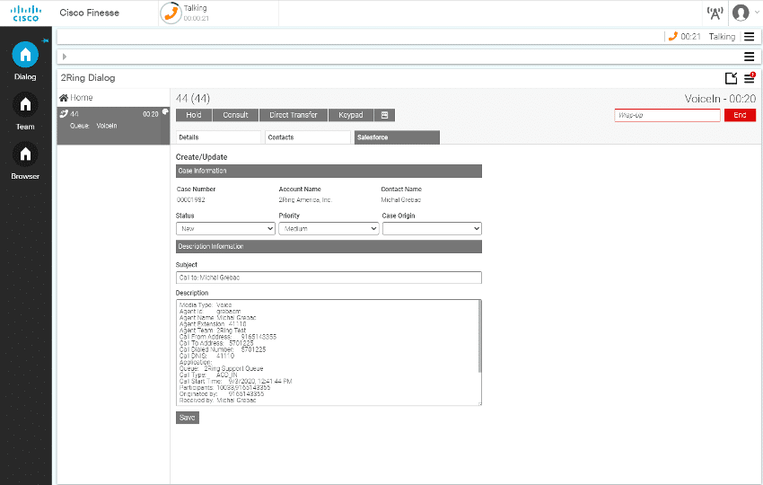 2Ring - A salesforce profile app inside Cisco Finesse for Creating and Updating Tickets